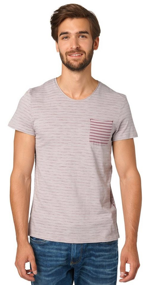 TOM TAILOR T-Shirt »T-Shirt in Inside-Out-Optik« in light frost grey
