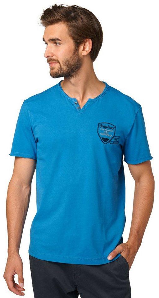 TOM TAILOR T-Shirt »Henley-Shirt mit Stickerei« in dark celeste blue
