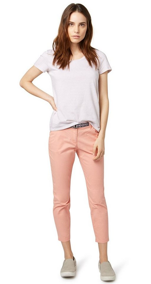 TOM TAILOR Hose »slim Chino with belt« in dusty salmon red