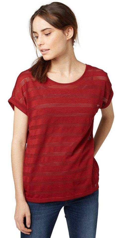 TOM TAILOR T-Shirt »gestreiftes T-Shirt mit Lochmuster« in velvet red