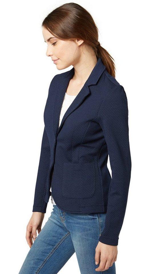 TOM TAILOR Blazer »femininer Blazer mit Struktur« in real navy blue