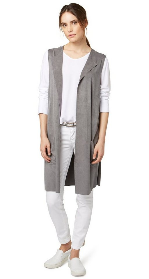 TOM TAILOR Blazer »lange Weste aus Veloursleder-Imitat« in smoked pearl grey