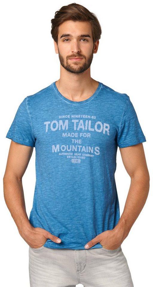 TOM TAILOR T-Shirt »Print-Shirt mit Farbeffekt« in dark celeste blue