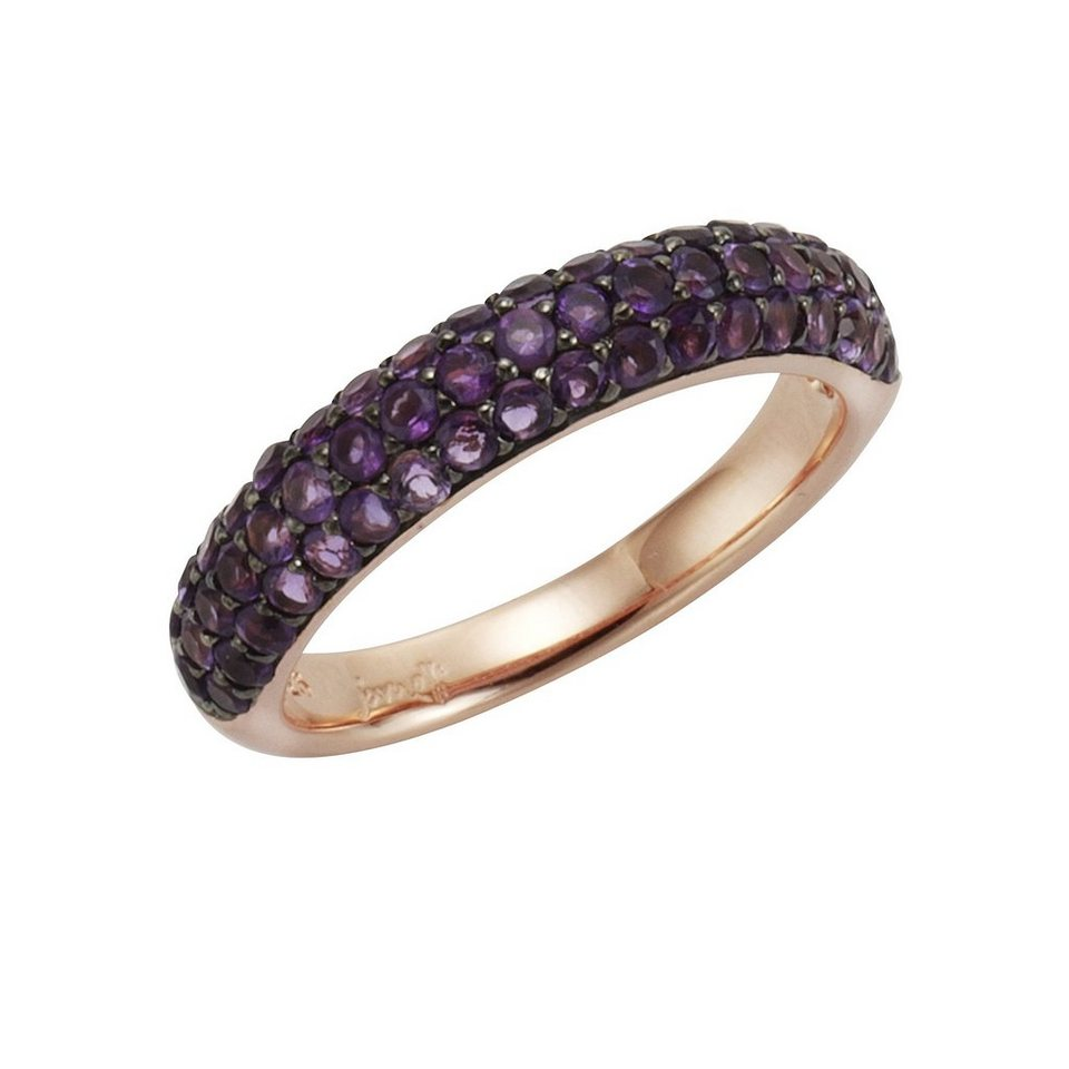 Jamelli Ring »925/- Sterling Silber rotvergoldet Amethyst« in rot