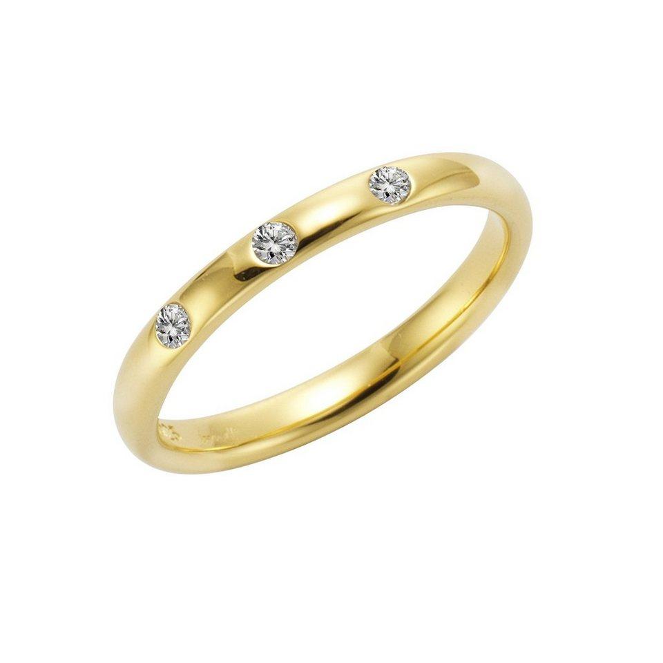Jamelli Ring »925/- Sterling Silber vergoldet mit Weißtopas« in gelb