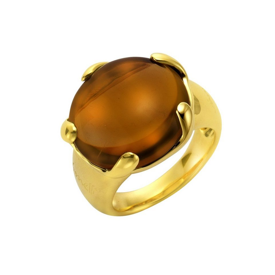 Jamelli Ring »925/- Sterling Silber vergoldet mit Quarz« in gelb
