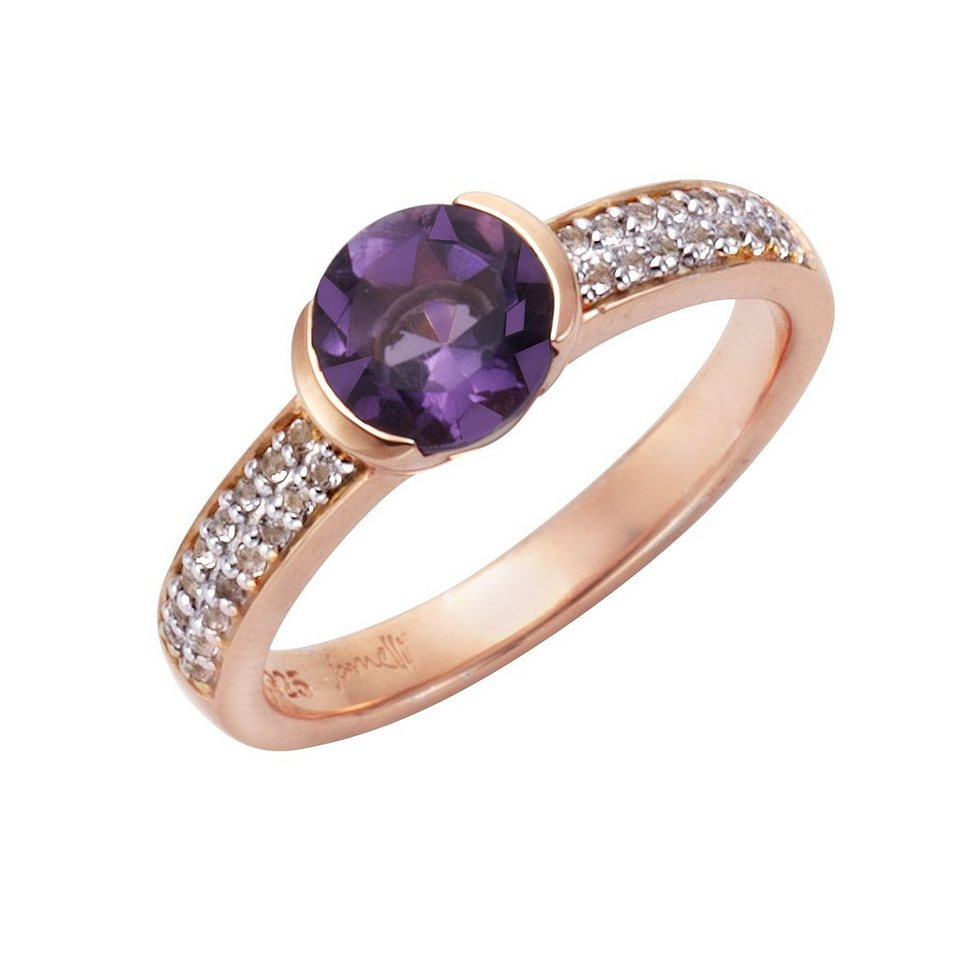 Jamelli Ring »925/- Sterling Silber Amethyst + Weißtopas« in rot