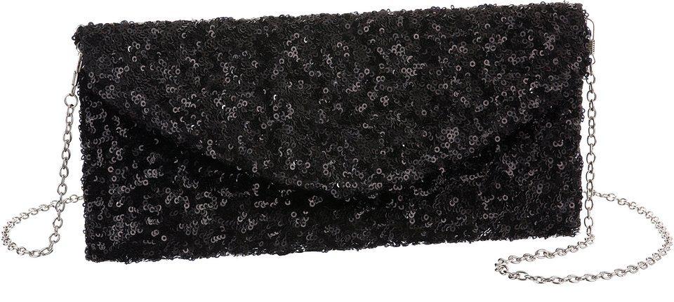 L. CREDI Clutch mit Pailletten in schwarz