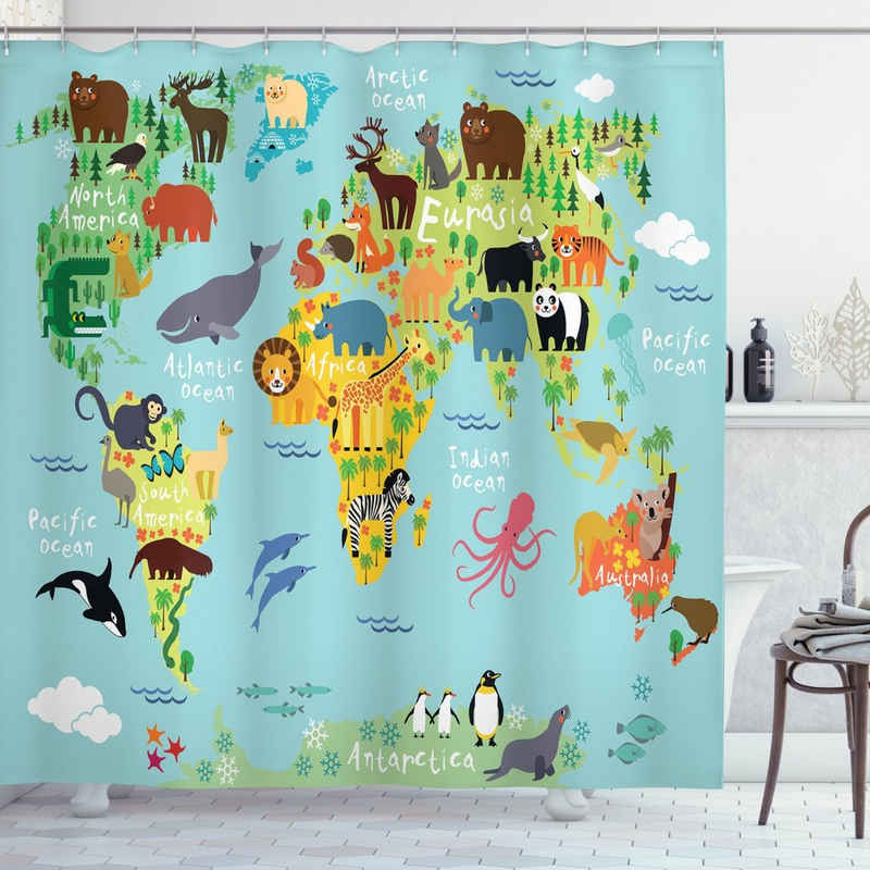 Abakuhaus Duschvorhang »Moderner Digitaldruck mit 12 Haken auf Stoff Wasser Resistent« Breite 175 cm, Höhe 180 cm, Weltkarte Tier Karte der Welt