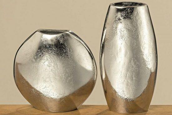 Meinposten Dekovase »Vase silber Metall rund oder oval Deko Aluminium massiv«