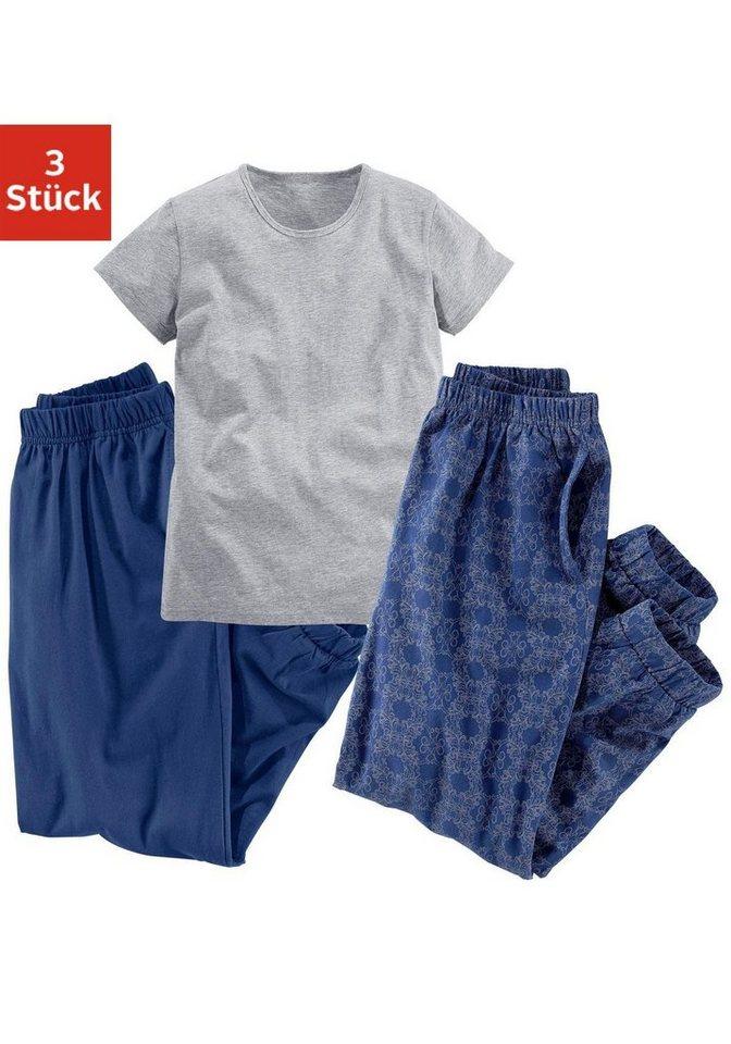 Buffalo, Schlaf-Outfit (3-tlg.), Shirt mit zwei Schlafhosen, eine uni und eine bedruckt in Shirt grau meliert + Schlafhose