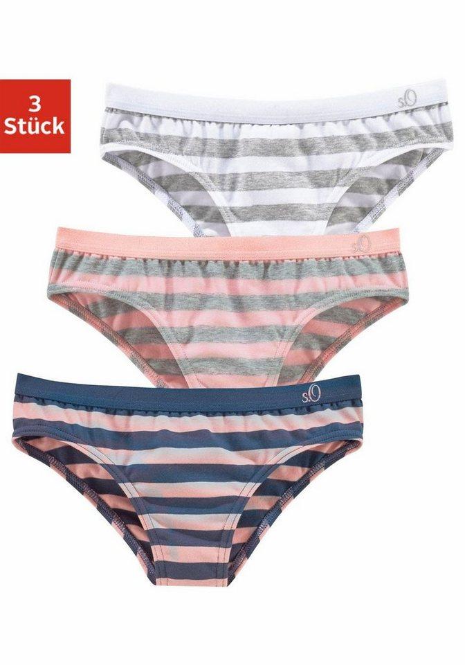 s.Oliver RED LABEL Bodywear Slips (3 Stück) in gestreift  rosa + weiß + blau