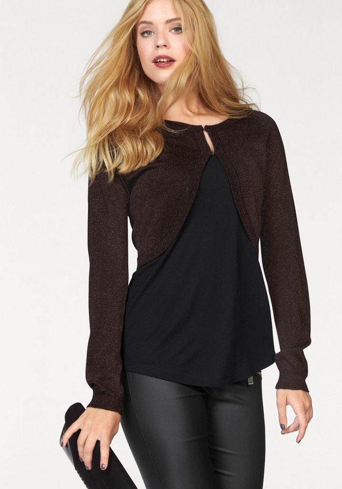 Vero Moda Bolero »SHINE LOGAN« im Glamour-Look in schwarz-bronzefarben