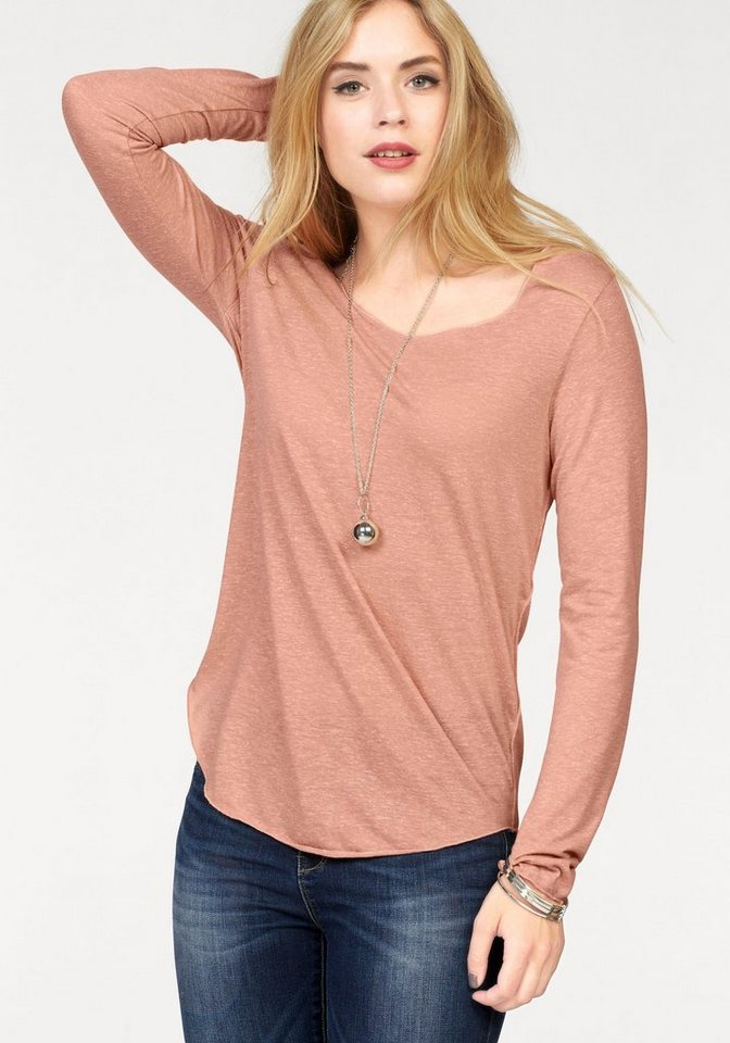 Vero Moda Longshirt »LUA« mit feinem Melange-Effekt in rosé