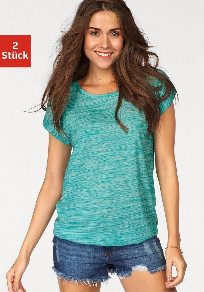 Beachtime melierte T-Shirts (2 Stück) in mint + grau meliert
