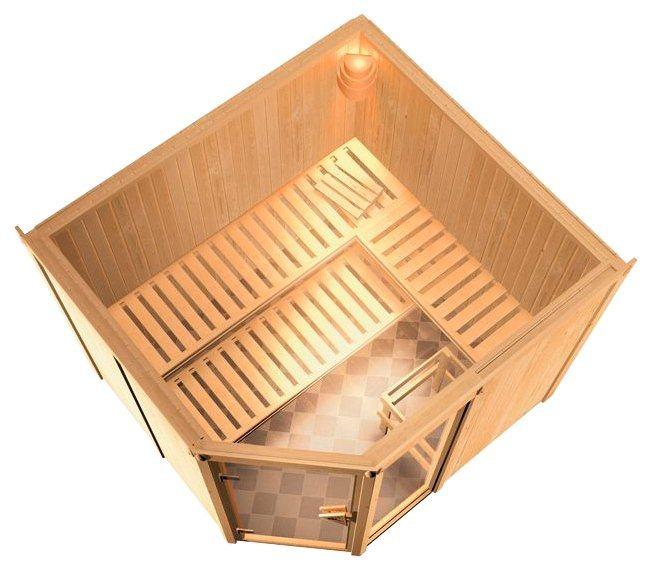 Konifera Sauna »Sofia«, 231/196/198cm, 68mm,9-KW-Ofen int. Steuerung in natur