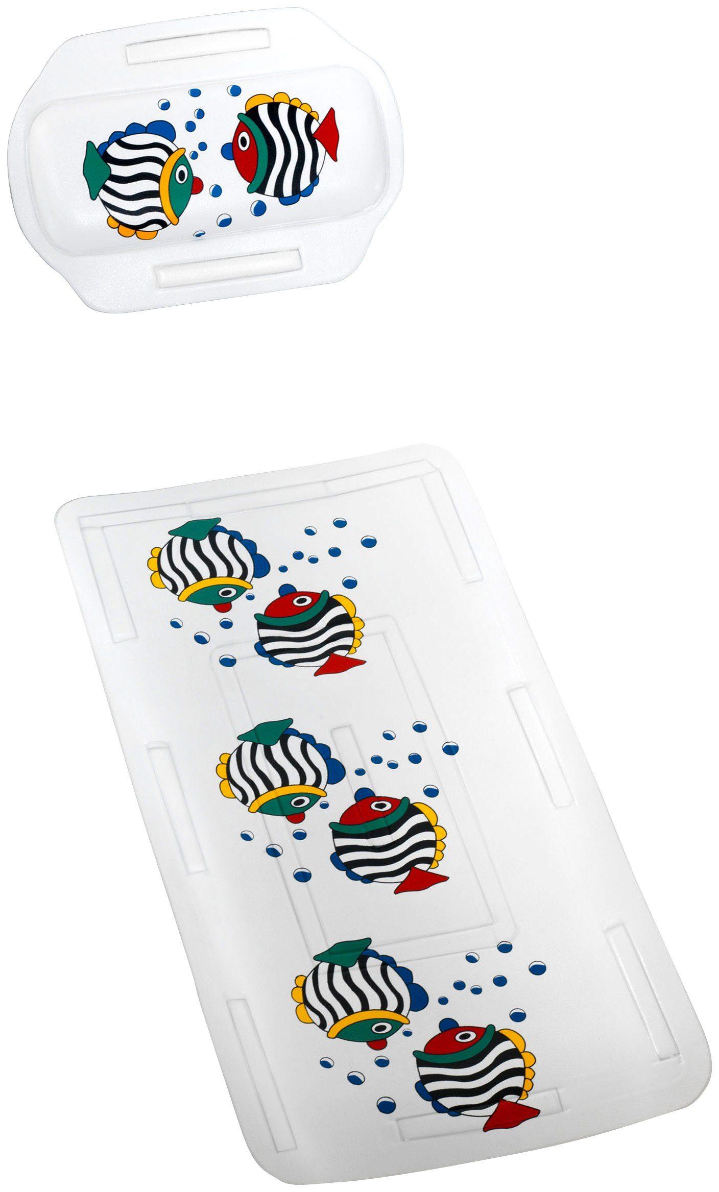 WENKO Wanneneinlage »Fisch«, 2-teiliges Set mit passendem Nackenpolster