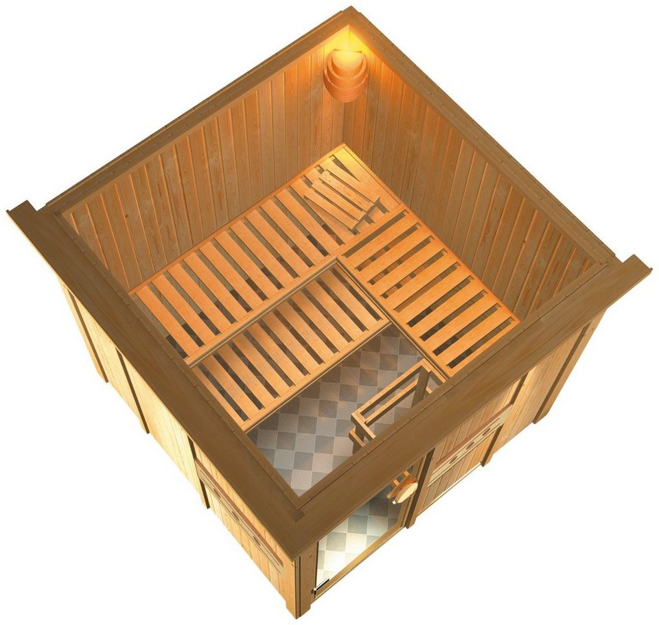 Sauna »Jolin«, 210/210/202cm, 68mm, 9-KW-Bio-Kombiofen ext. Steuerung in natur