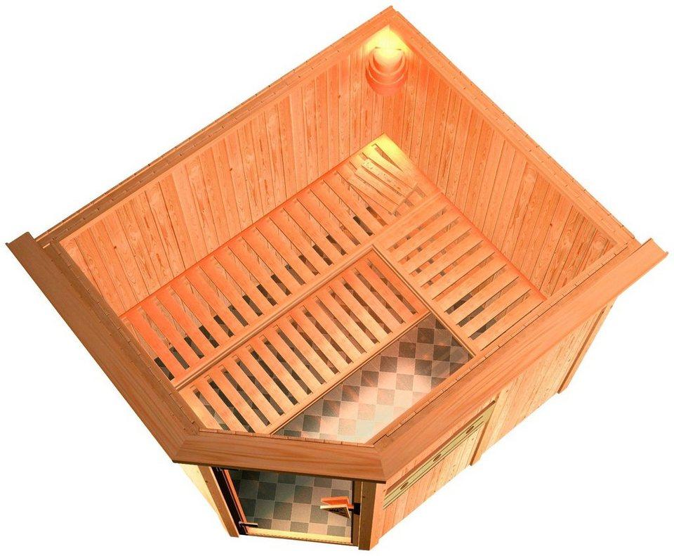 Sauna »Alida«, 231/196/198cm, 68mm,7,5-KW-Ofen ext. Steuerung in natur