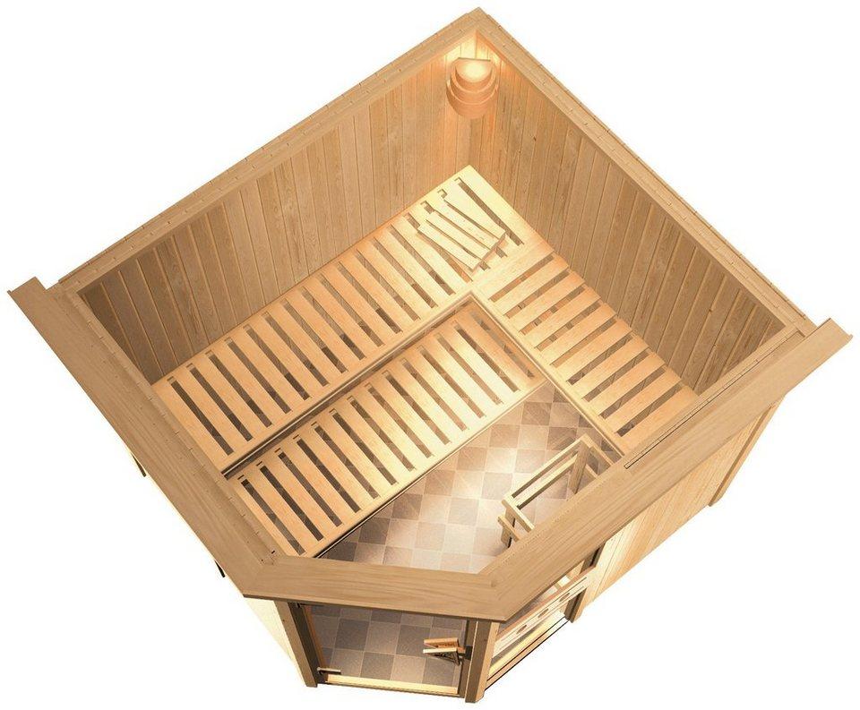 Konifera Sauna »Sofia«, 245/210/202cm, 68mm, 9-KW-Bio-Kombiofen ext. Steuerung + Dachkranz in natur