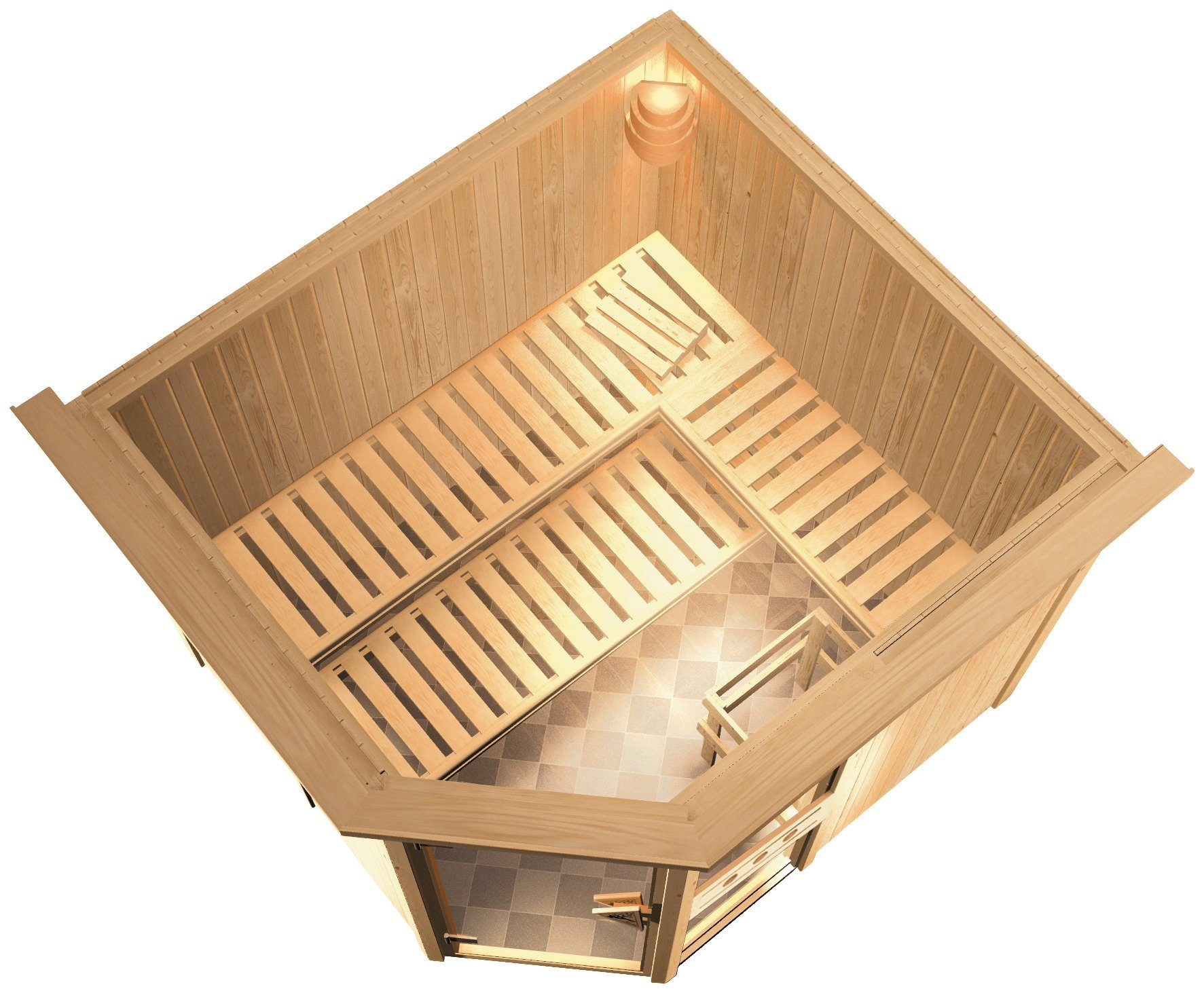 Konifera Sauna »Sofia«, 245/210/202cm, 68mm, 9-KW-Bio-Kombiofen ext. Steuerung + Dachkranz