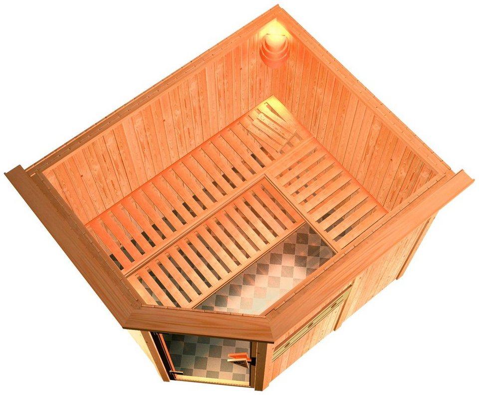 Sauna »Alida«, 245/210/202cm, 68mm, 9-KW-Bio-Kombiofen ext. Steuerung und Dachkranz in natur