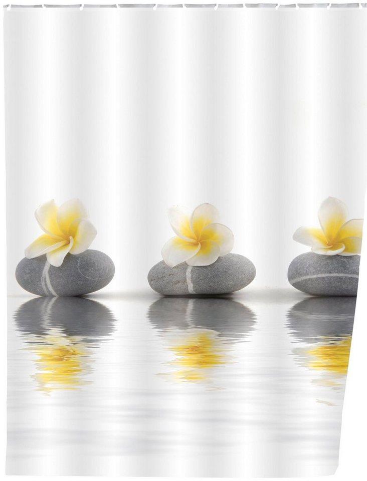 Duschvorhang »Stones and Flower« in weiß/grau