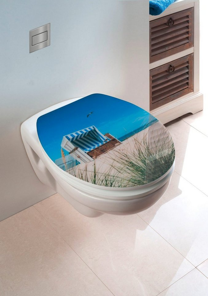 WC-Sitz »Strandkorb«, Mit Absenkautomatik in blau/sandbeige