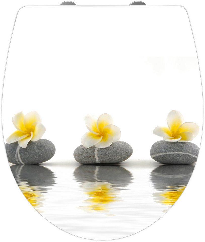 Wenko WC-Sitz »Stones with Flower«, Mit Absenkautomatik in weiß/grau