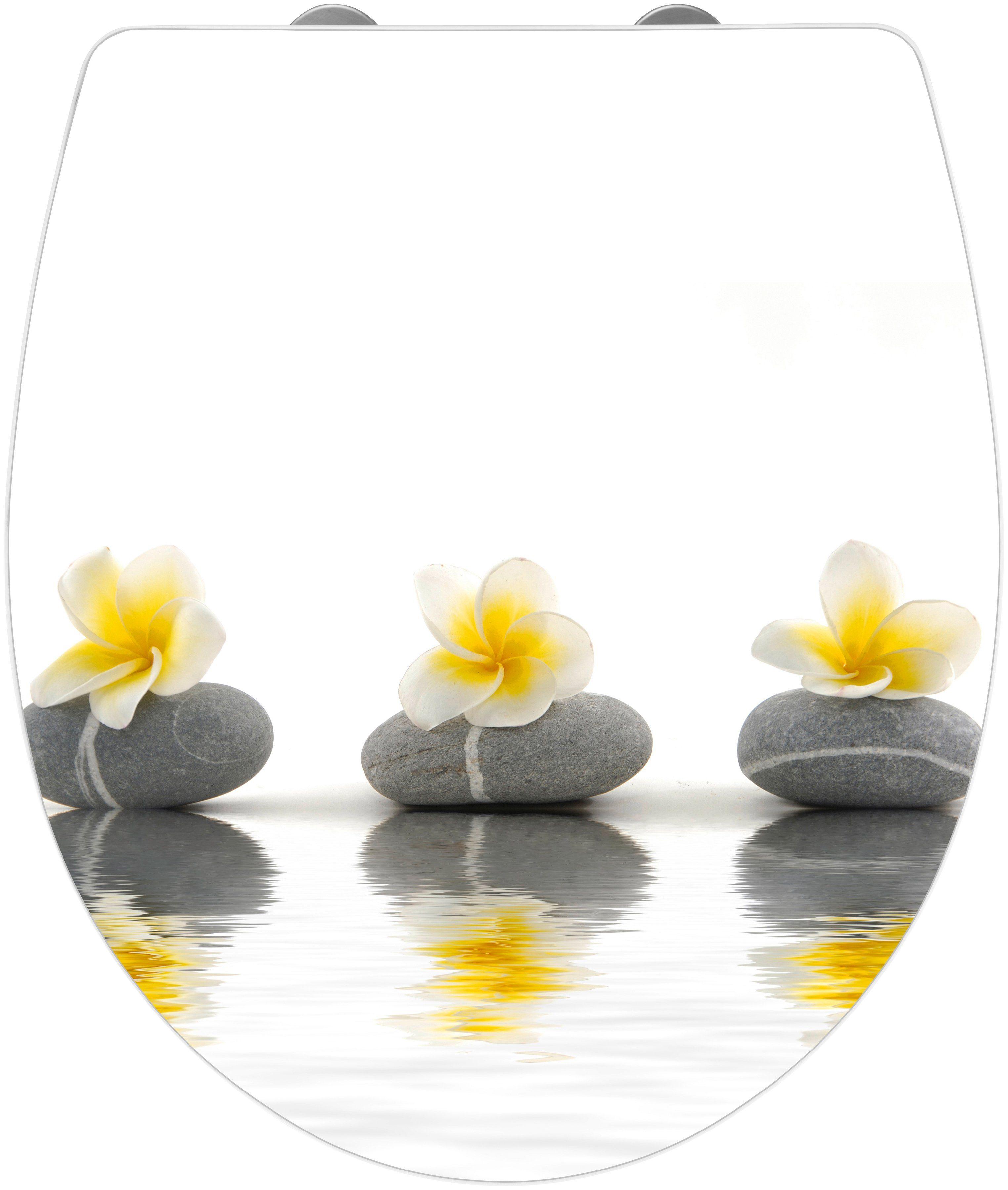 Wenko WC-Sitz »Stones with Flower«, Mit Absenkautomatik