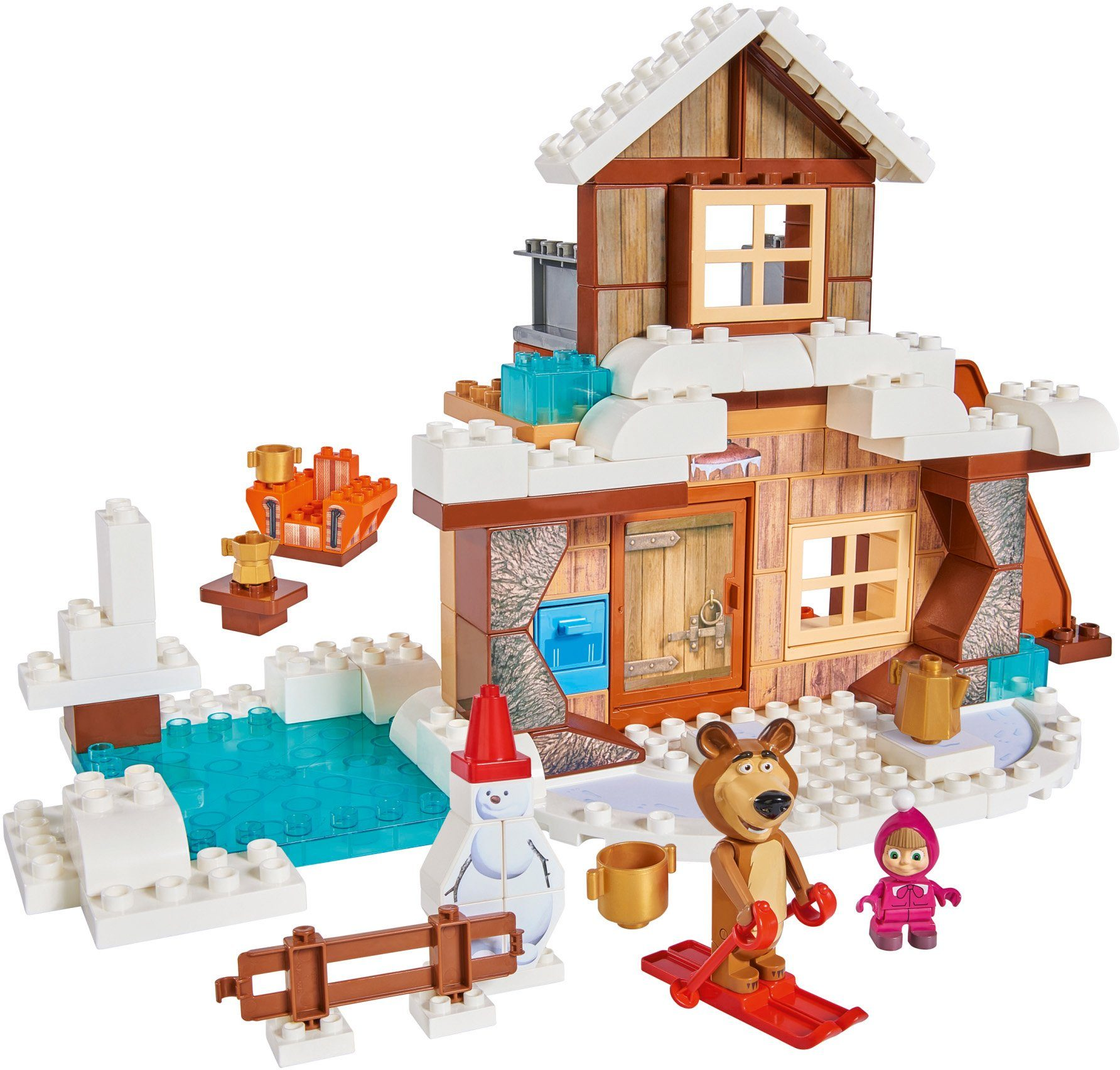 BIG Bausteinespielset, »PlayBIG Bloxx Masha an the Bear, Bear´s Winter House«