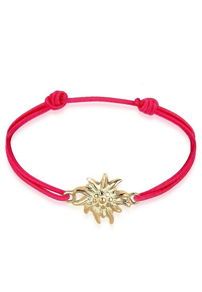 Elli Armband »WIESN TRACHT Edelweiss vergoldet« in Rot