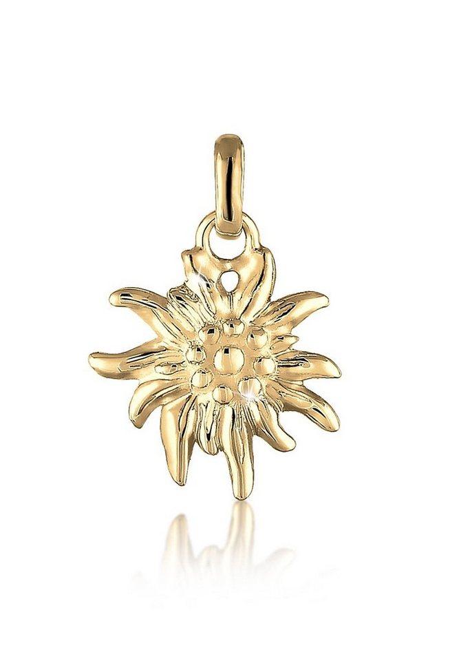 Elli Anhänger »WIESN Edelweiss 925 Silber vergoldet« in Gold