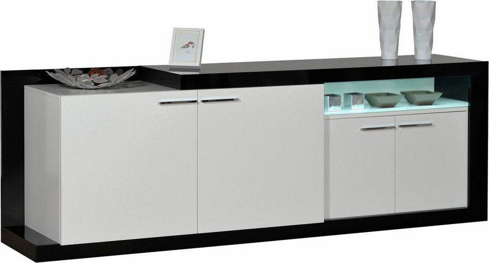 S.C.I.A.E. Sideboard, Breite 240 cm in Schwarz/Weiß Hochglanz lackiert