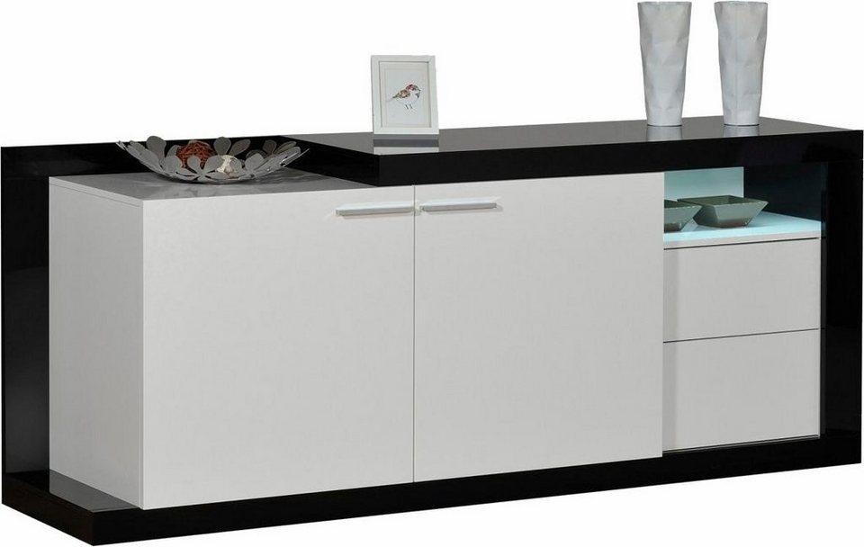 S.C.I.A.E. Sideboard, Breite 204 cm in Schwarz/Weiß Hochglanz lackiert
