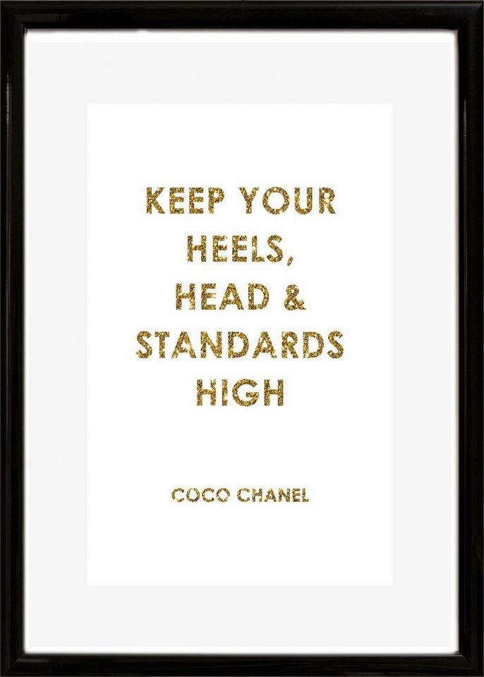 Home affaire Rahmenbild »Spruch: Keep your heels, …«, 30/40 cm in weiß/gold