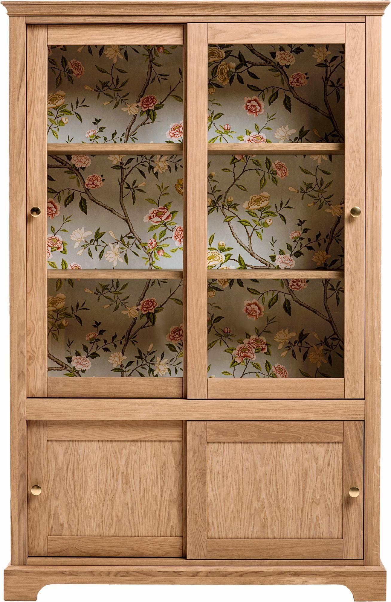 Premium collection by Home affaire Vitrine »Hertford«, innen verziert mit floralem Dekor