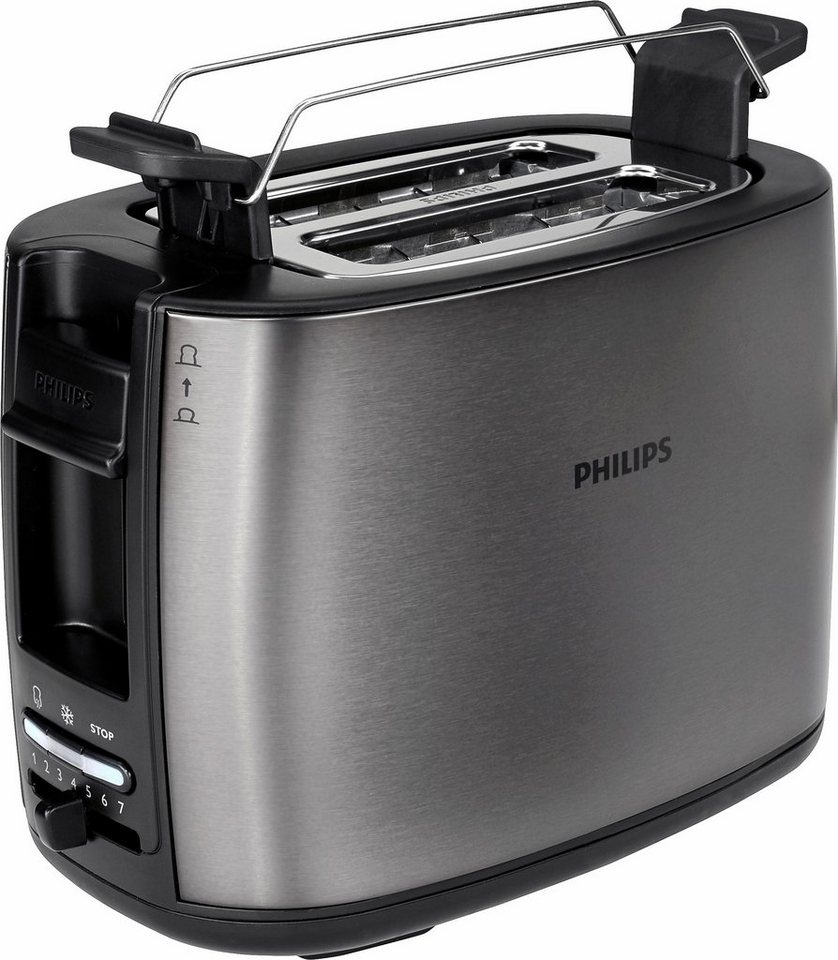 Philips Toaster HD2628/80 Viva Collection mit 2 Toastkammern, Titanium in Titanium