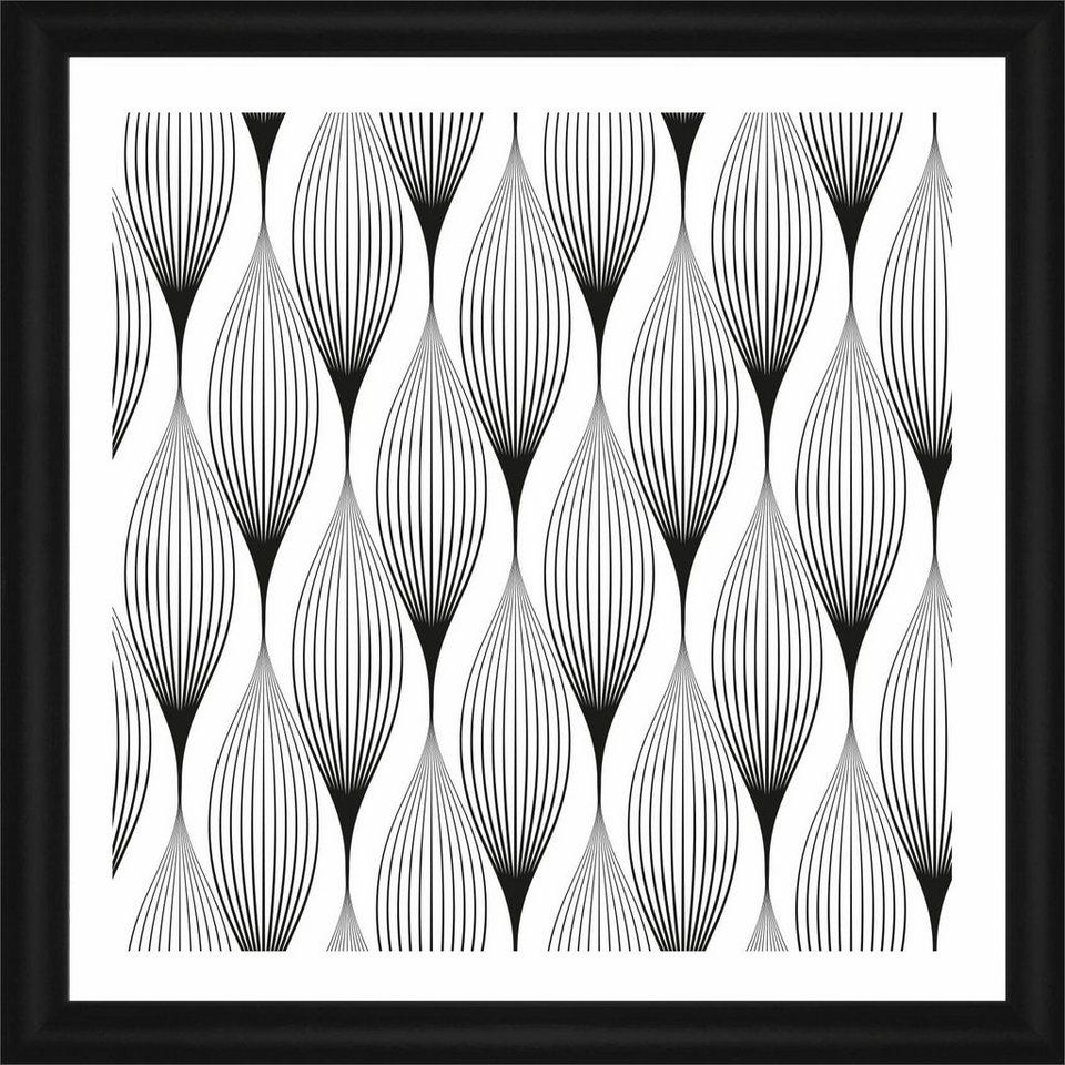 Home affaire Rahmenbild »Gewellte Linien«, 50/50 cm in weiß/schwarz