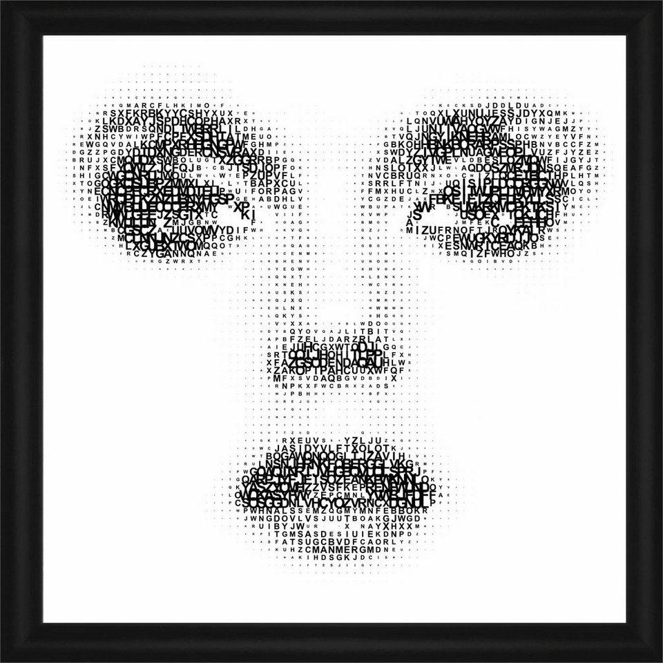 Home affaire Rahmenbild »Augen, Nase, Mund«, 50/50 cm in weiß/schwarz