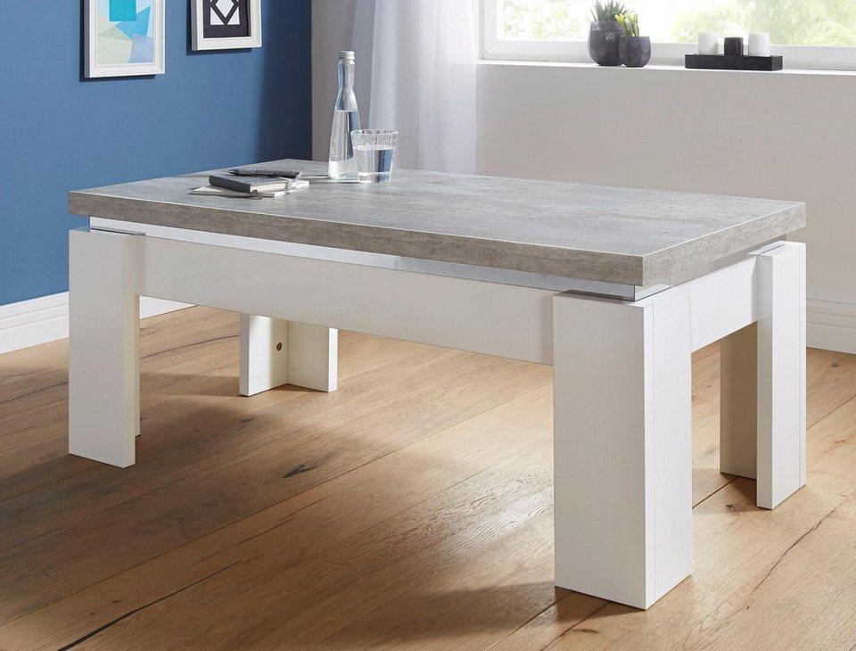 Couchtisch in modernem Design in weiß/betonfarben