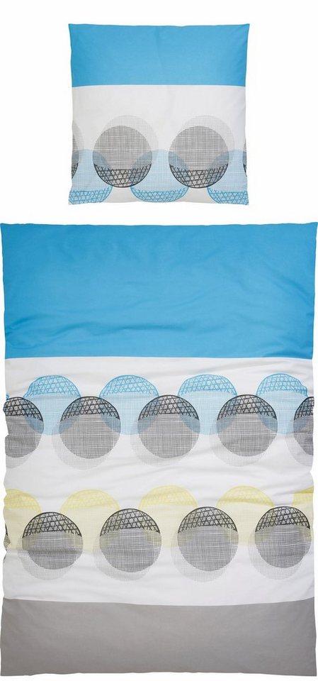Bettwäsche, my home Selection, »Romi«, mit Kreisen in blau-grau