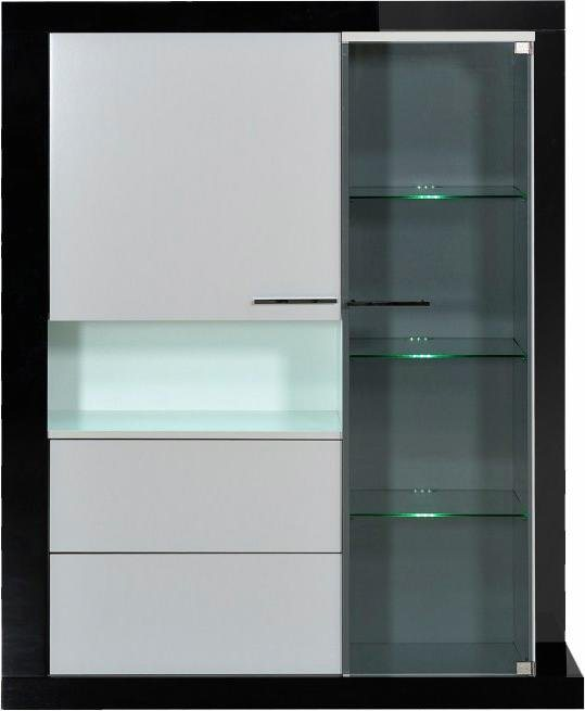 S.C.I.A.E. Highboard, Breite 133 cm in Schwarz/Weiß Hochglanz lackiert