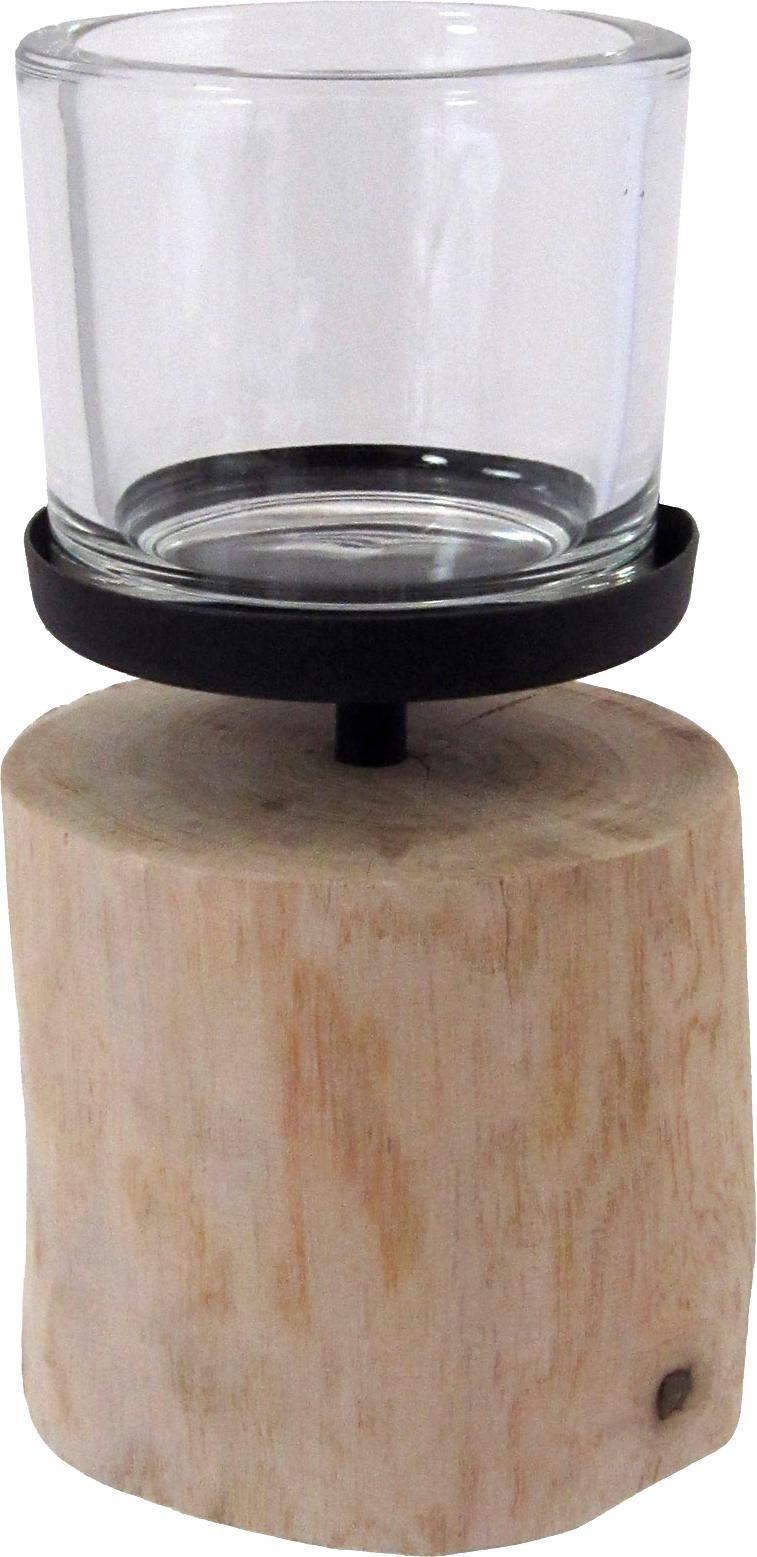 Home affaire Windlicht mit Standfuß aus Holz