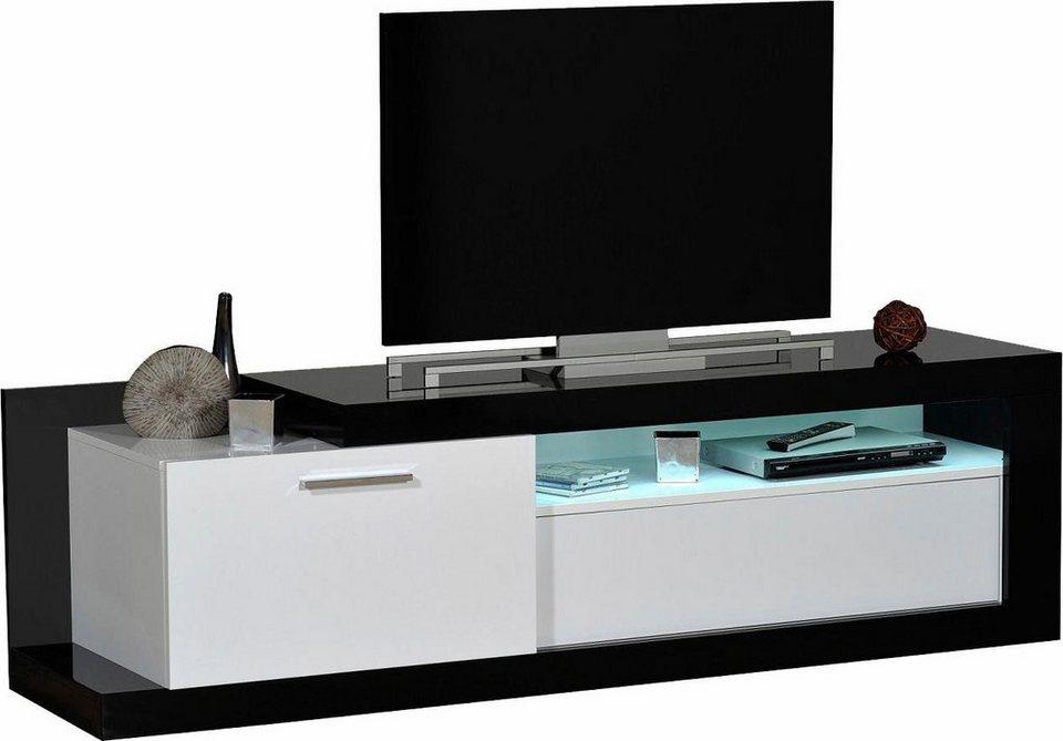 S.C.I.A.E. Lowboard, Breite 180 cm in Schwarz/Weiß Hochglanz lackiert