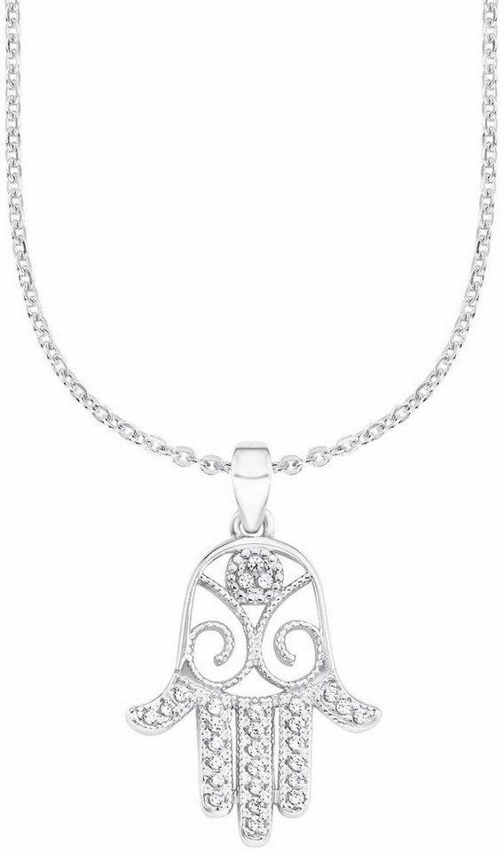 Amor Kette mit Anhänger »Hand der Fatima, E48/4 537537« mit Zirkonia in Silber 925