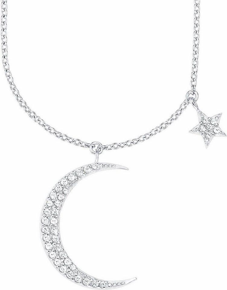 Amor Kette mit Anhänger »Mond und Stern, E106/12 538893« mit funkelnden Zirkonia in Silber 925