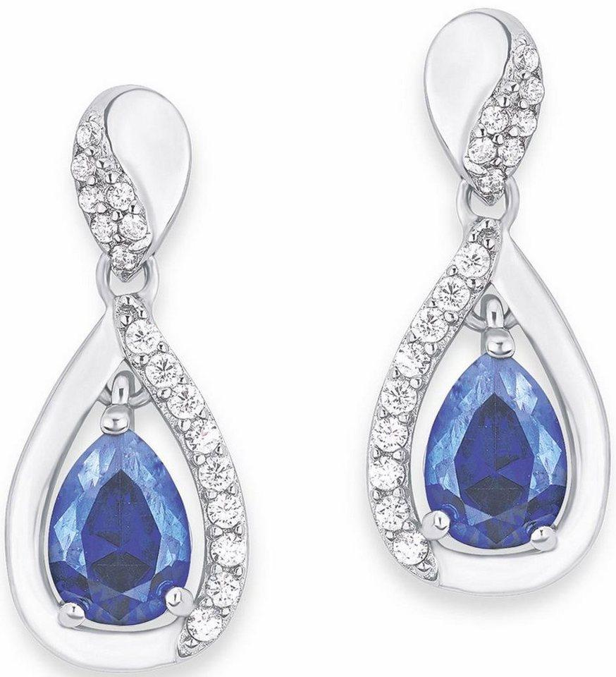 Amor Paar Ohrstecker »Tropfen, E111/9 569965« mit blauen und weißen Zirkonia in Silber 925-blau
