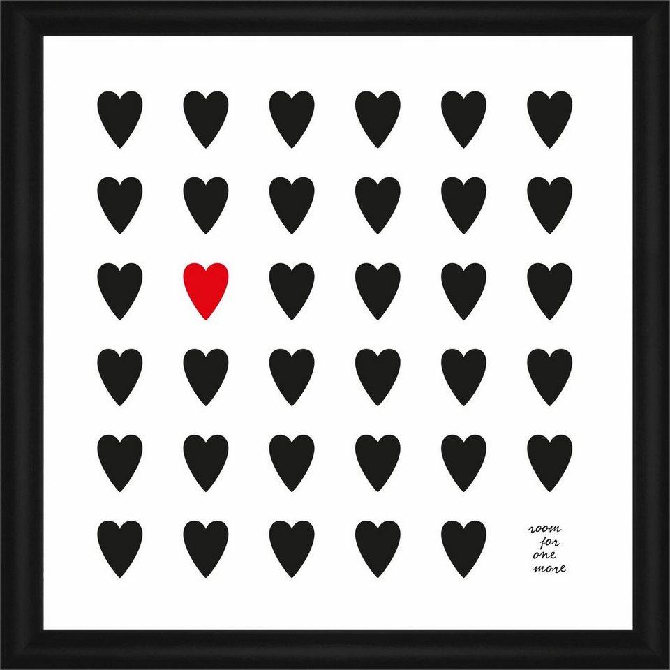 Home affaire Rahmenbild »Viele Herzen«, 50/50 cm in weiß/schwarz