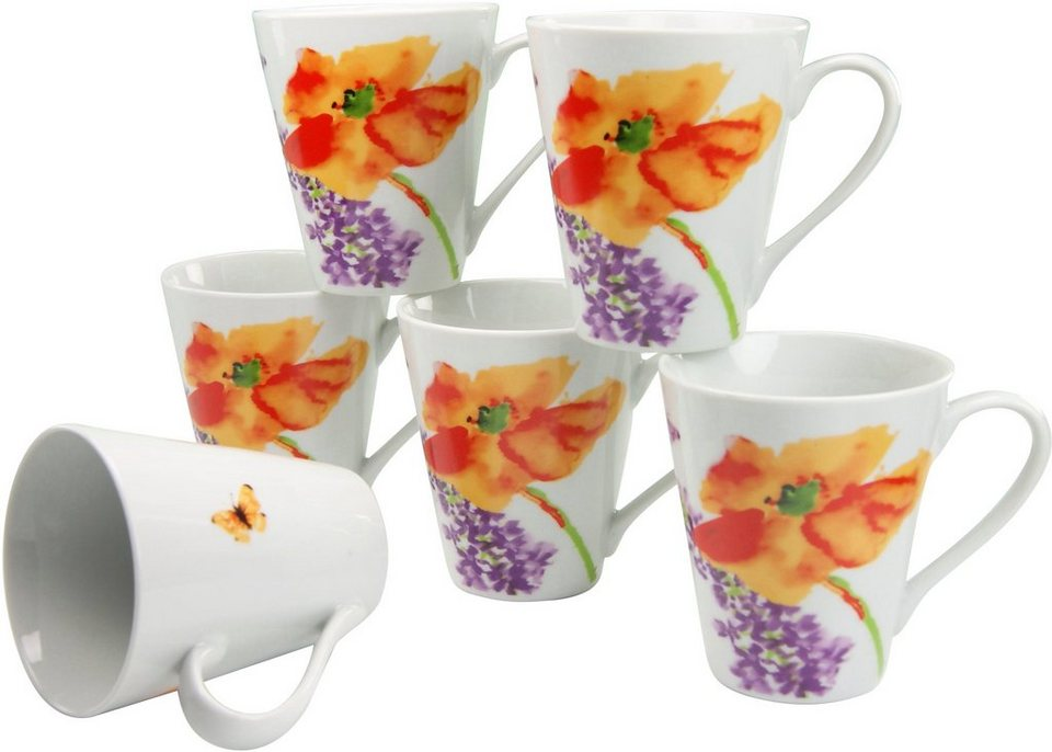 Porzellan-Serie, »Happy Day« in Weißes Porzellan mit floralem Dekor